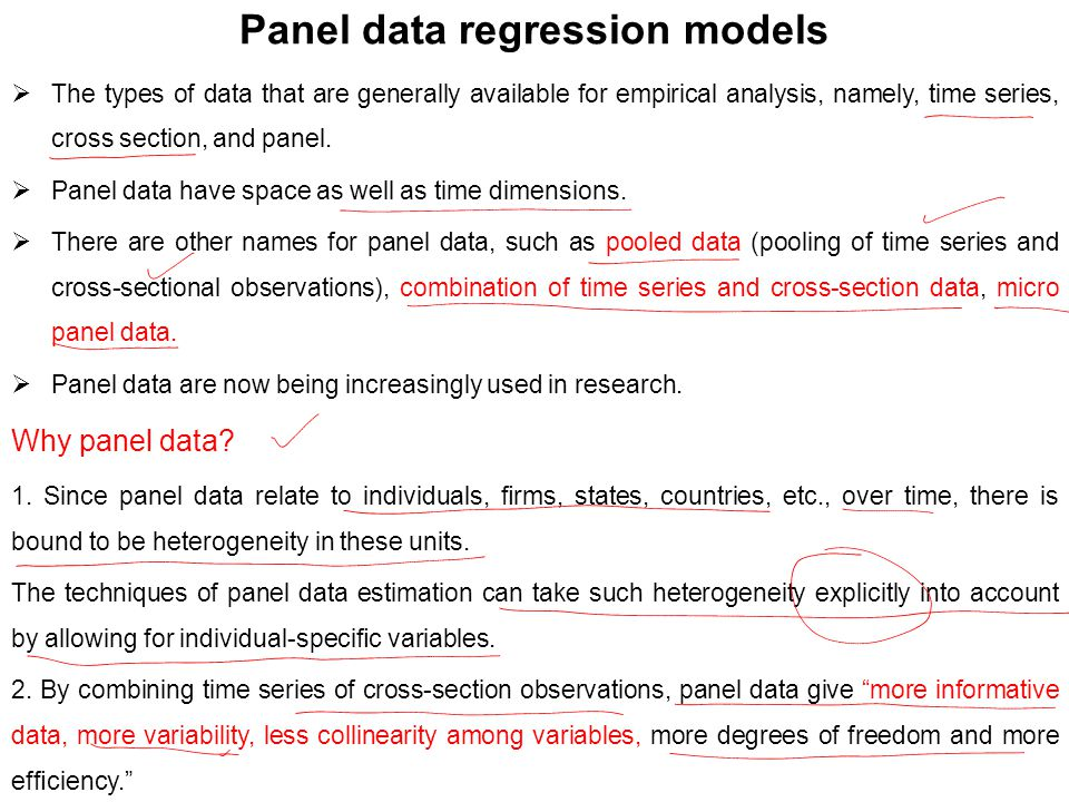 Panel data regression models