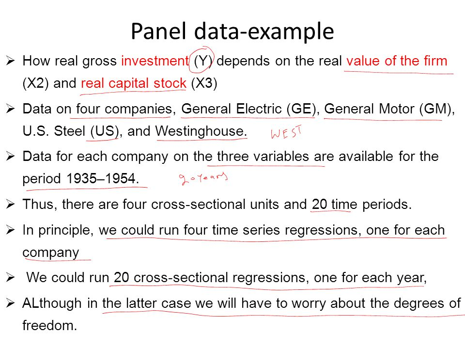 Panel data-example How real gross investment (Y) depends on the real value of the firm (X2) and real capital stock (X3)