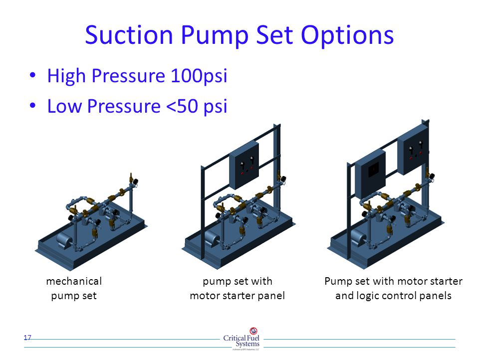 Suction Pump Set Options