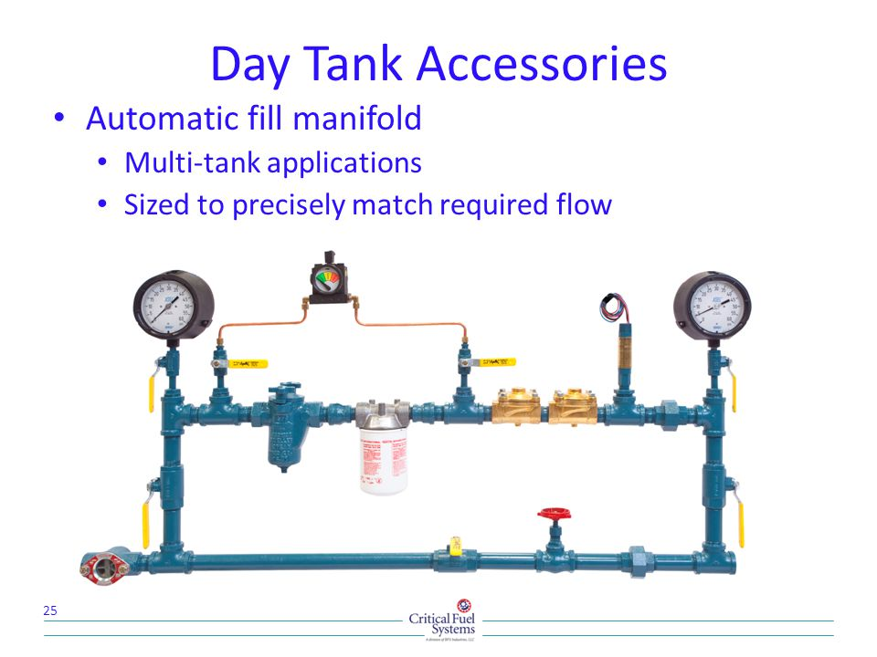 Day Tank Accessories Automatic fill manifold Multi-tank applications