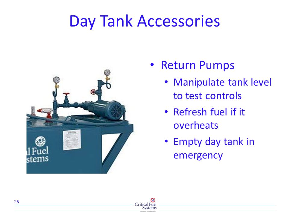Day Tank Accessories Return Pumps
