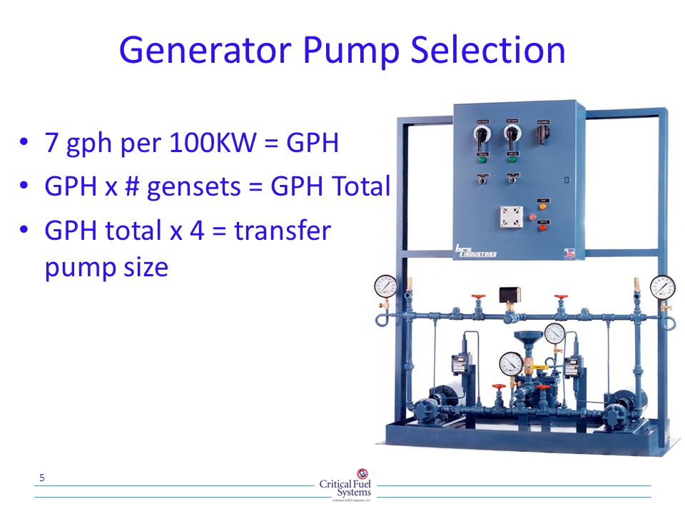 Generator Pump Selection