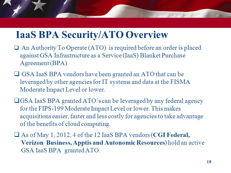 IaaS BPA Security/ATO Overview