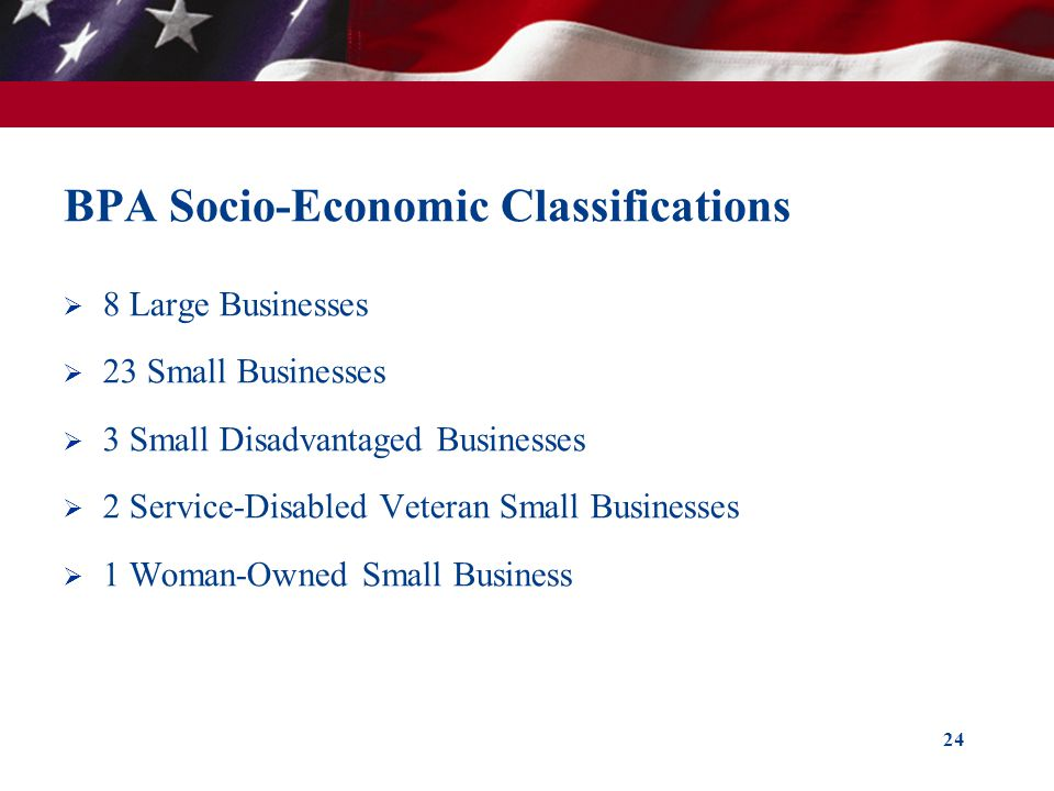 BPA Socio-Economic Classifications