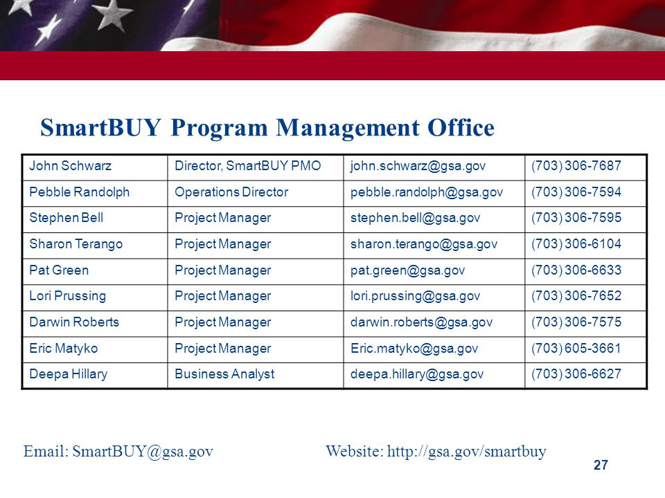 SmartBUY Program Management Office