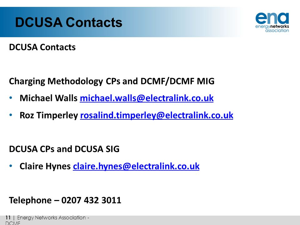 DCUSA Contacts DCUSA Contacts