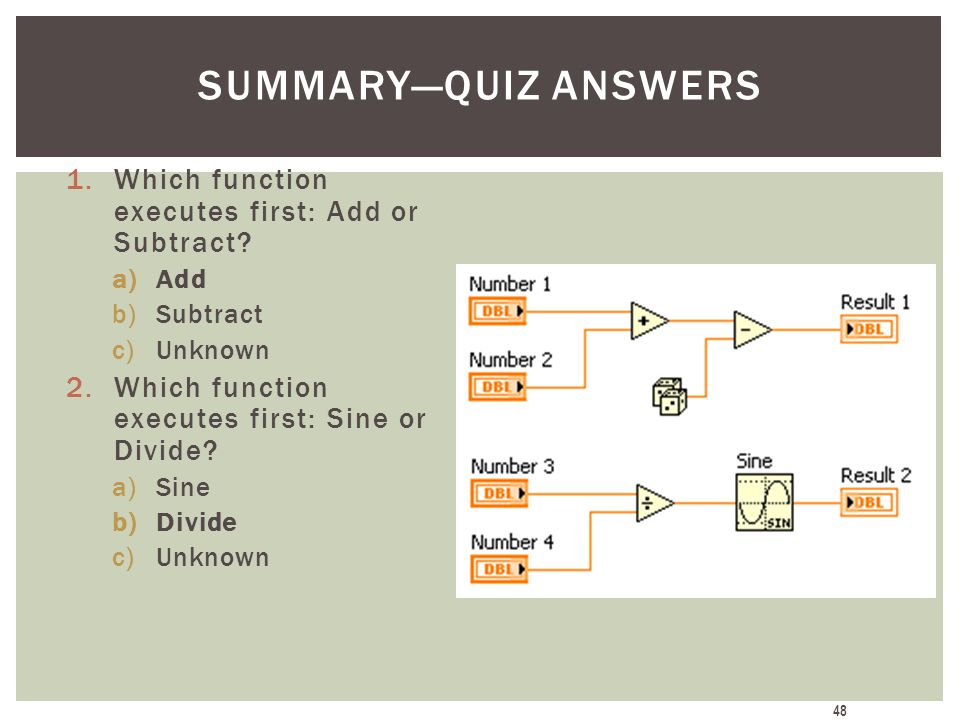 Summary—Quiz Answers Which function executes first: Add or Subtract