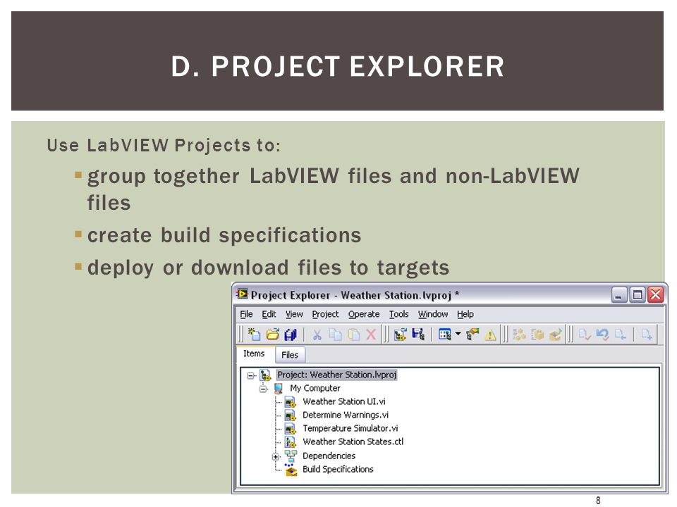 D. Project Explorer group together LabVIEW files and non-LabVIEW files