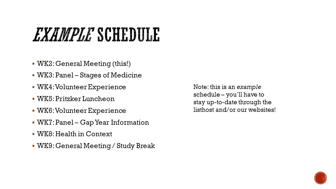 Example Schedule WK2: General Meeting (this!)