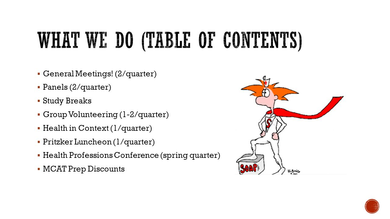 What We Do (table of contents)