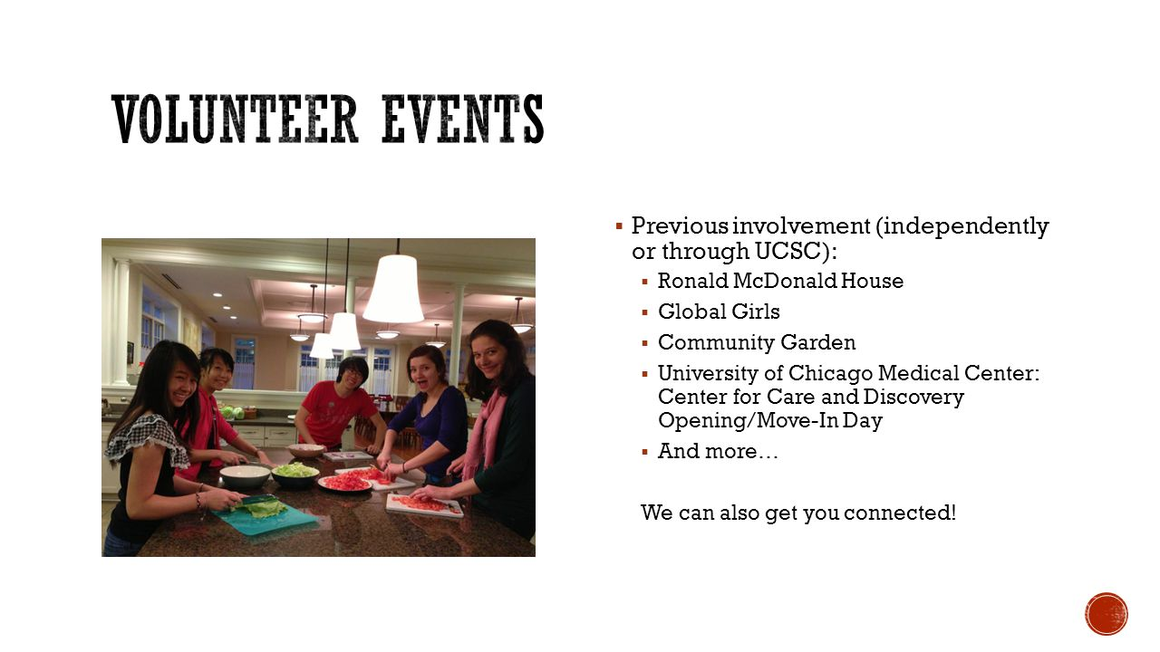 Volunteer Events Previous involvement (independently or through UCSC):