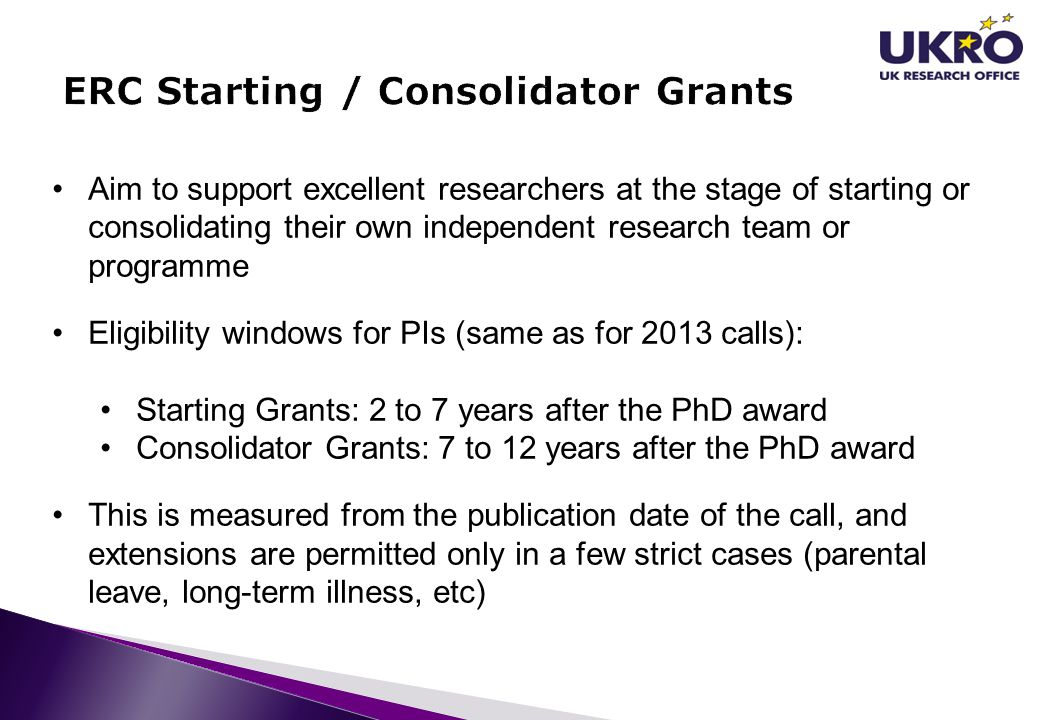 ERC Starting / Consolidator Grants