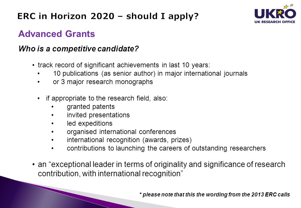 ERC in Horizon 2020 – should I apply