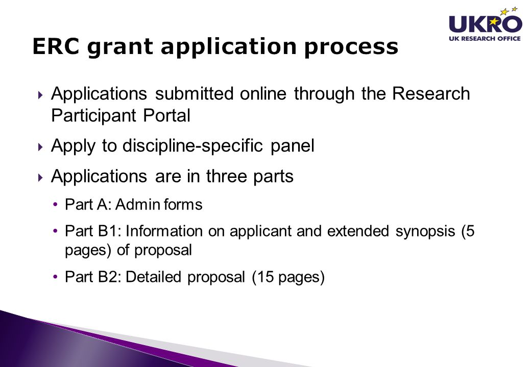 ERC grant application process