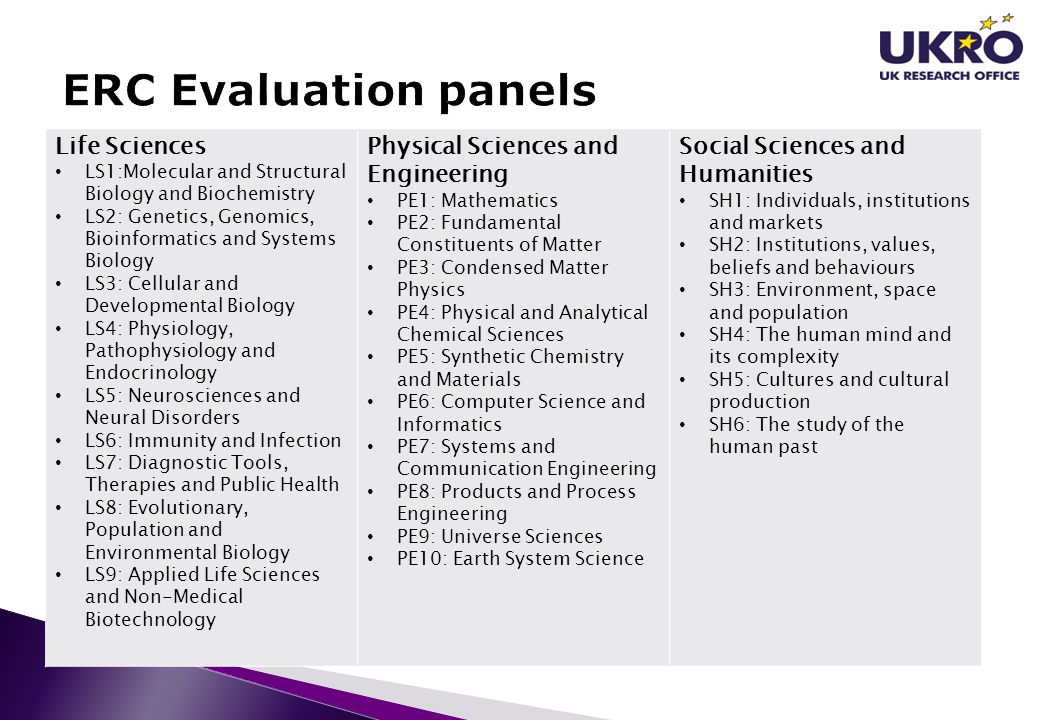 ERC Evaluation panels Life Sciences Physical Sciences and Engineering