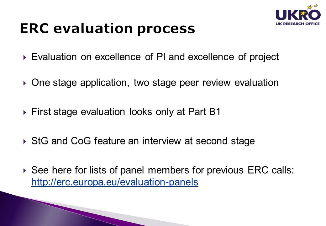 ERC evaluation process