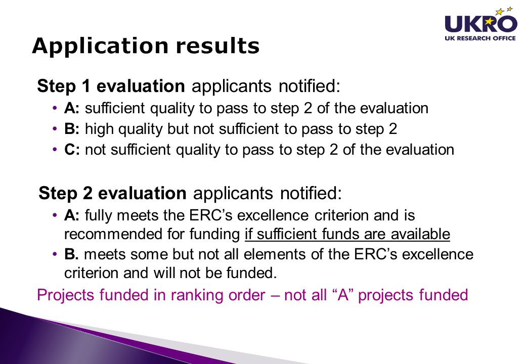 Application results Step 1 evaluation applicants notified: