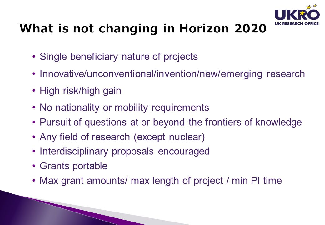 What is not changing in Horizon 2020