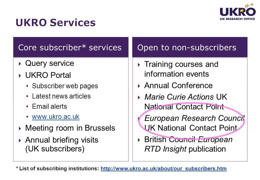 UKRO Services Core subscriber* services Open to non-subscribers