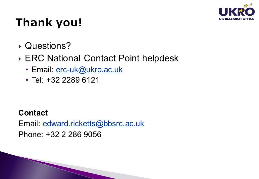 Thank you! Questions ERC National Contact Point helpdesk