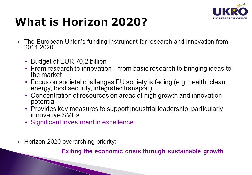 What is Horizon 2020 Budget of EUR 70,2 billion