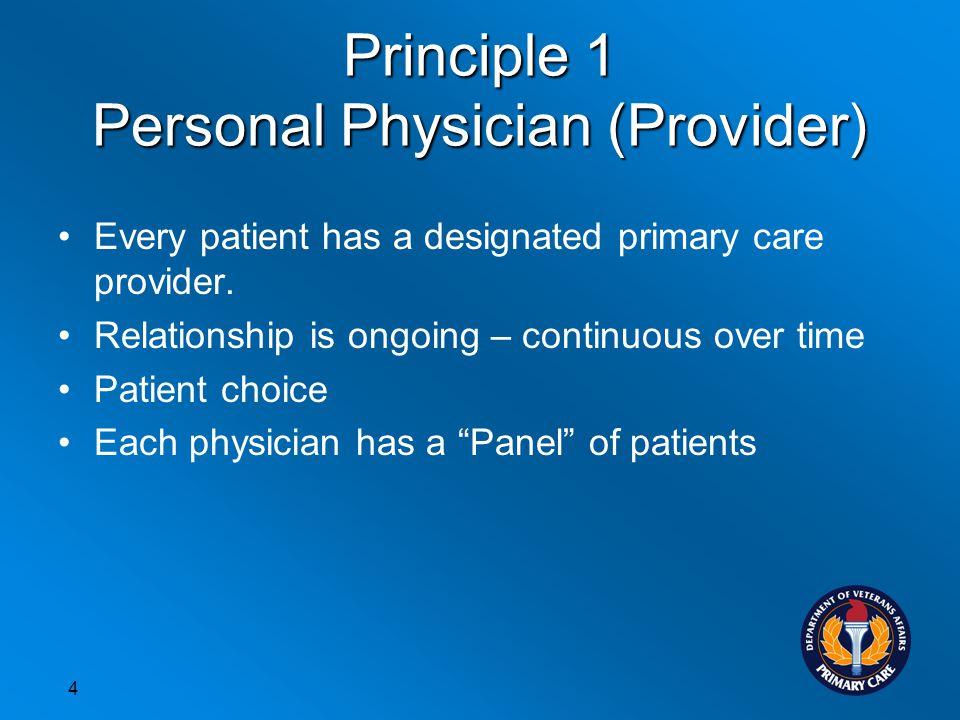 Principle 1 Personal Physician (Provider)
