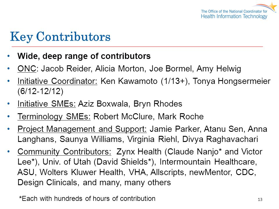Key Contributors Wide, deep range of contributors