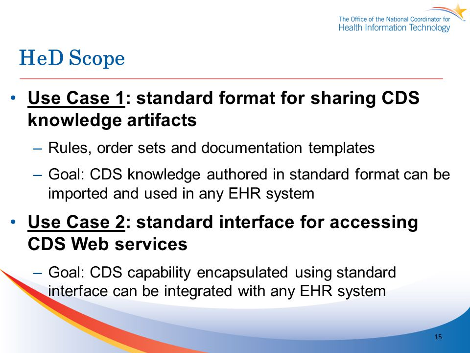 HeD Scope Use Case 1: standard format for sharing CDS knowledge artifacts. Rules, order sets and documentation templates.