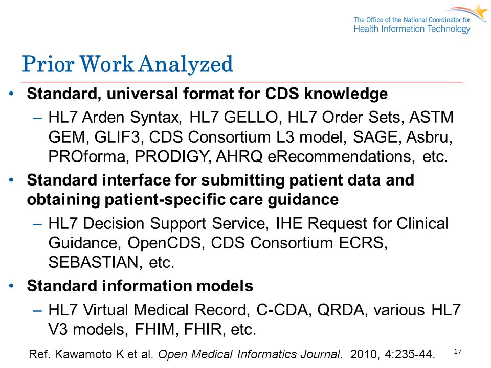 Prior Work Analyzed Standard, universal format for CDS knowledge