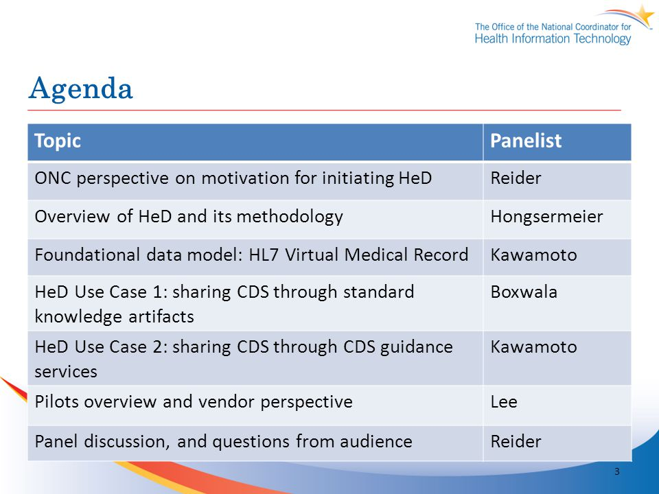 Agenda Topic Panelist ONC perspective on motivation for initiating HeD