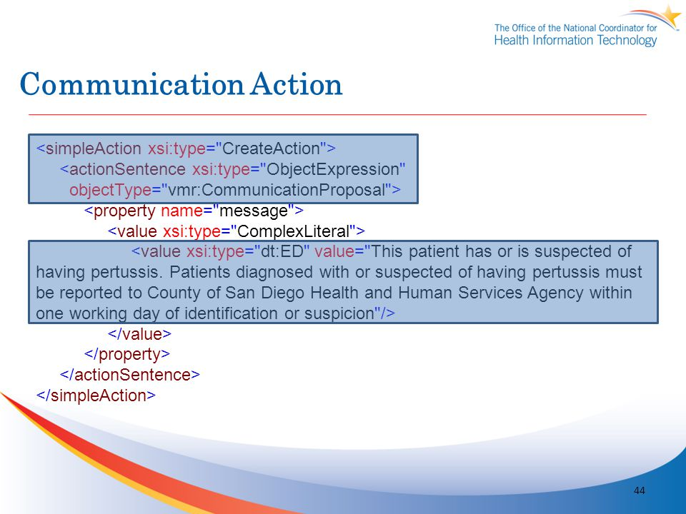 Communication Action <simpleAction xsi:type= CreateAction >