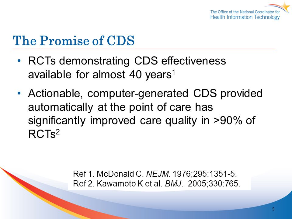 The Promise of CDS RCTs demonstrating CDS effectiveness available for almost 40 years1.