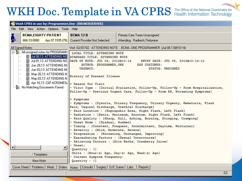 WKH Doc. Template in VA CPRS