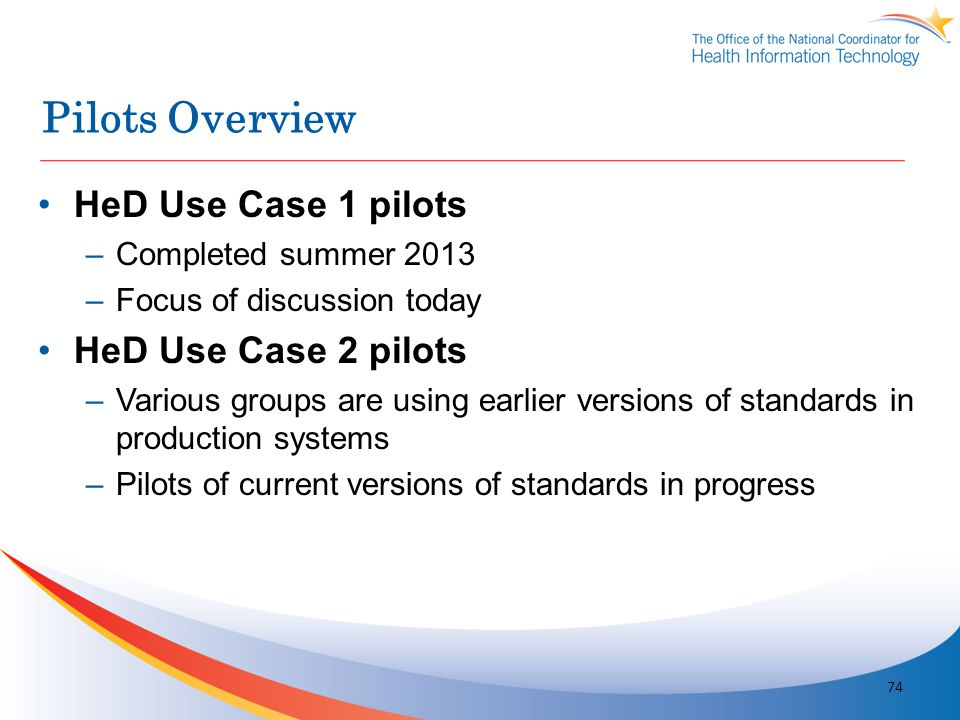Pilots Overview HeD Use Case 1 pilots HeD Use Case 2 pilots