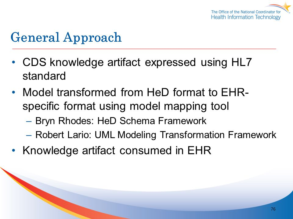 General Approach CDS knowledge artifact expressed using HL7 standard