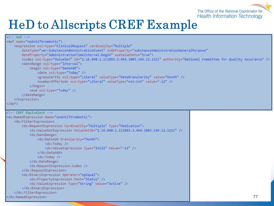 HeD to Allscripts CREF Example