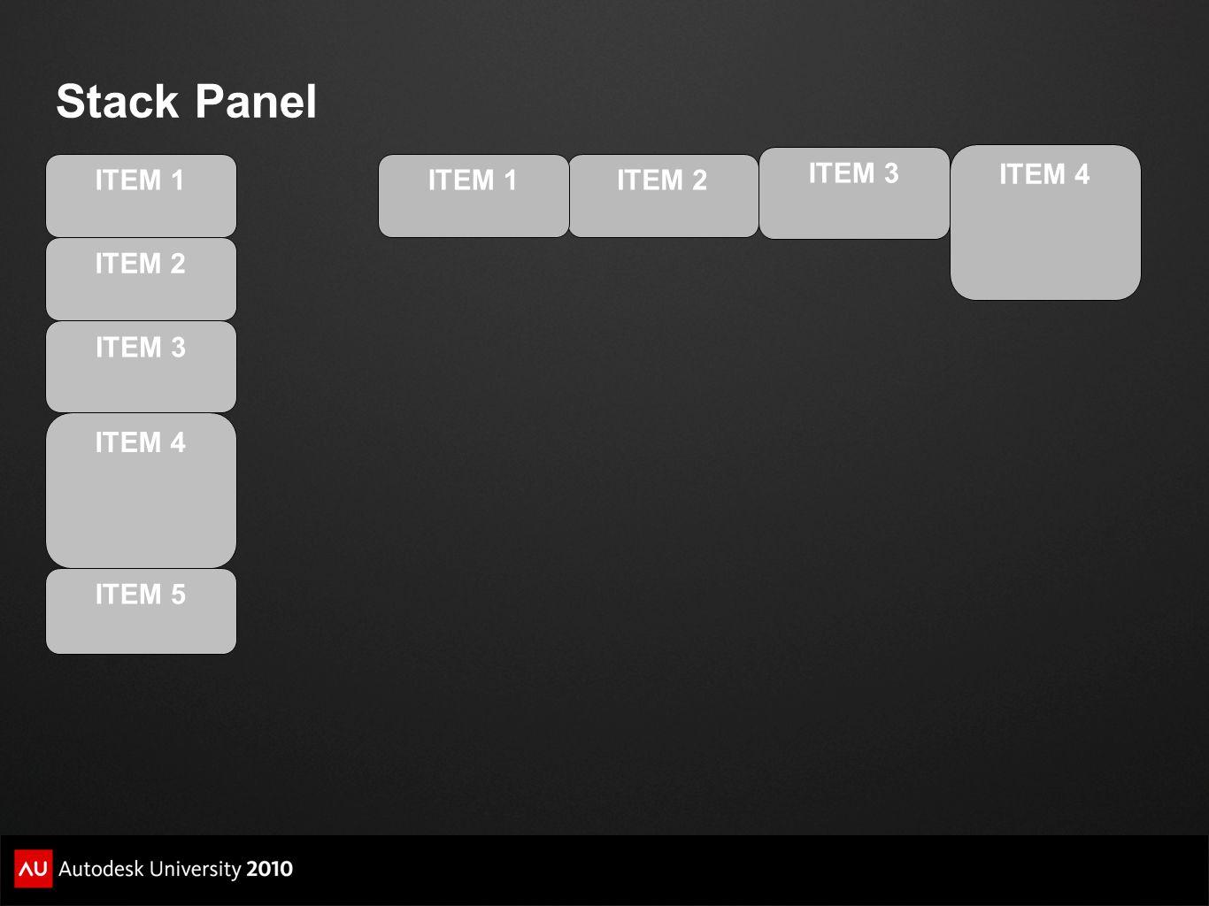 Stack Panel ITEM 3 ITEM 4 ITEM 1 ITEM 1 ITEM 2 ITEM 2 ITEM 3 ITEM 4