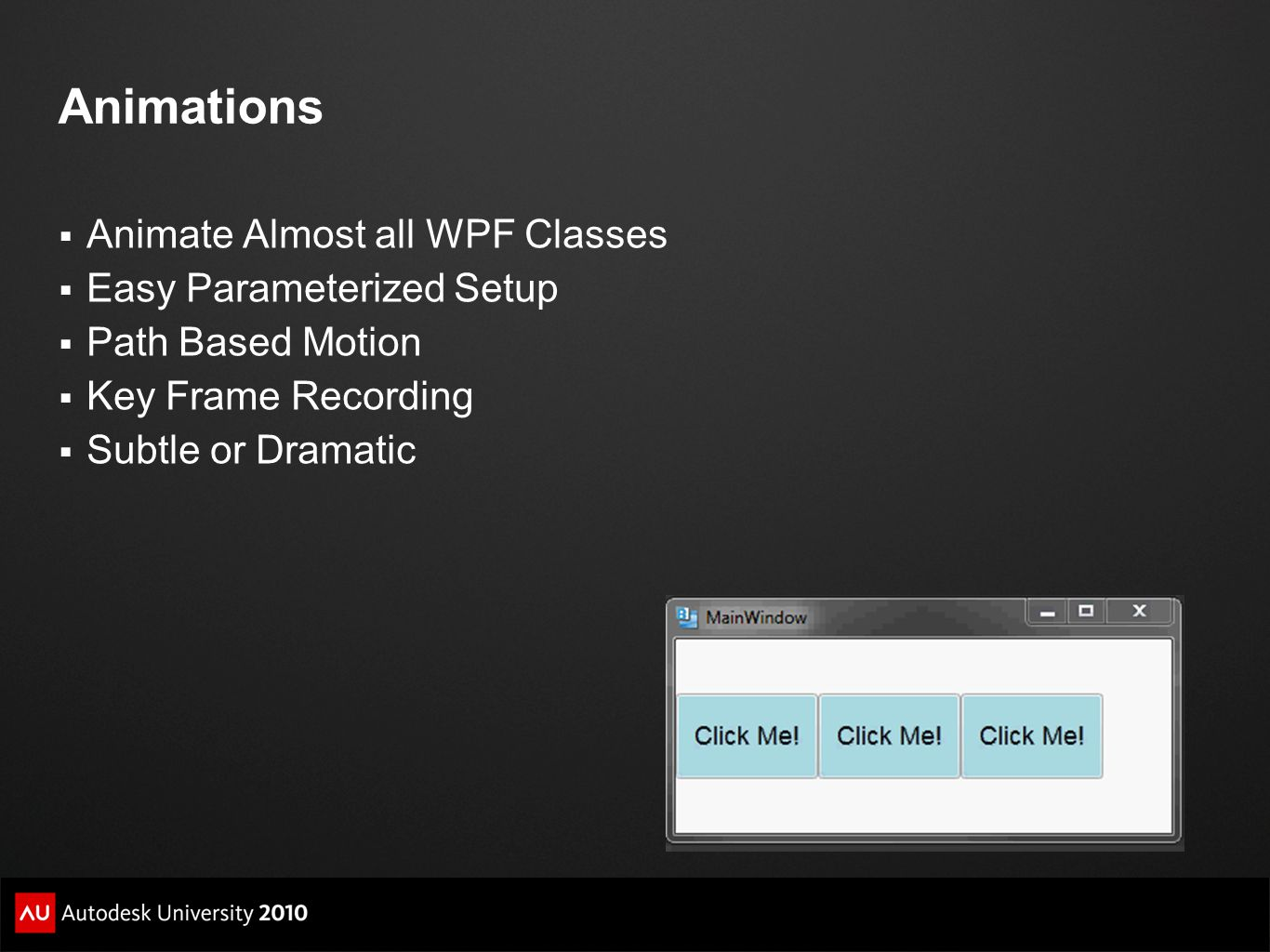 Animations Animate Almost all WPF Classes Easy Parameterized Setup