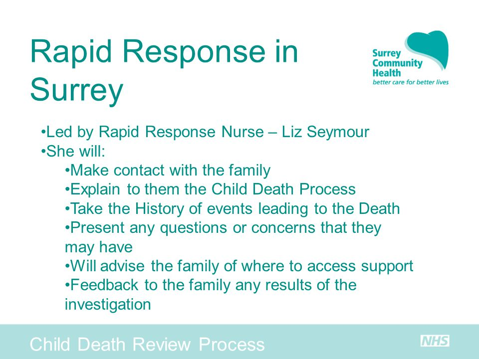 Rapid Response in Surrey Child Death Review Process
