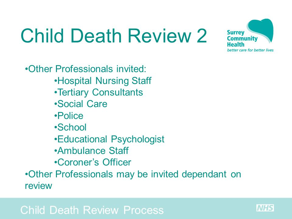Child Death Review 2 Child Death Review Process