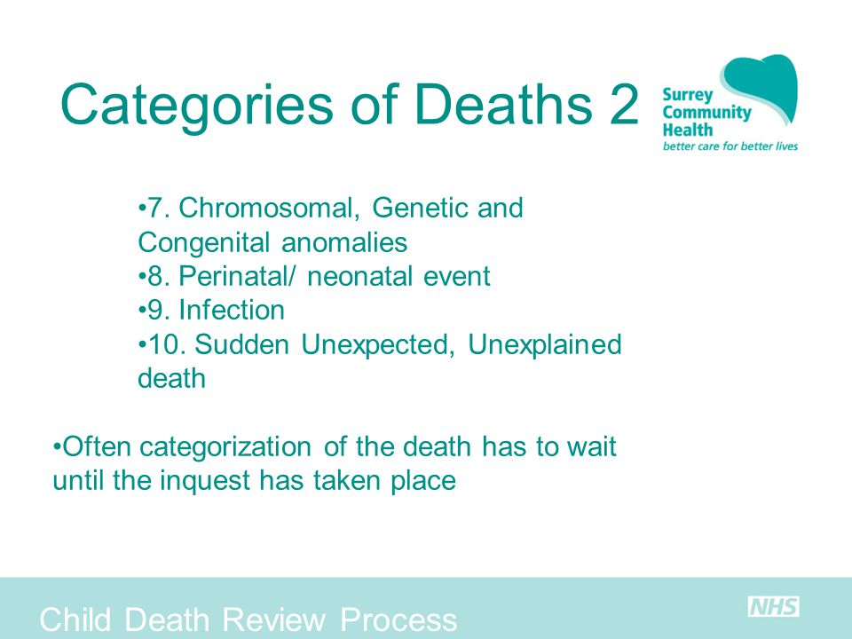 Categories of Deaths 2 Child Death Review Process