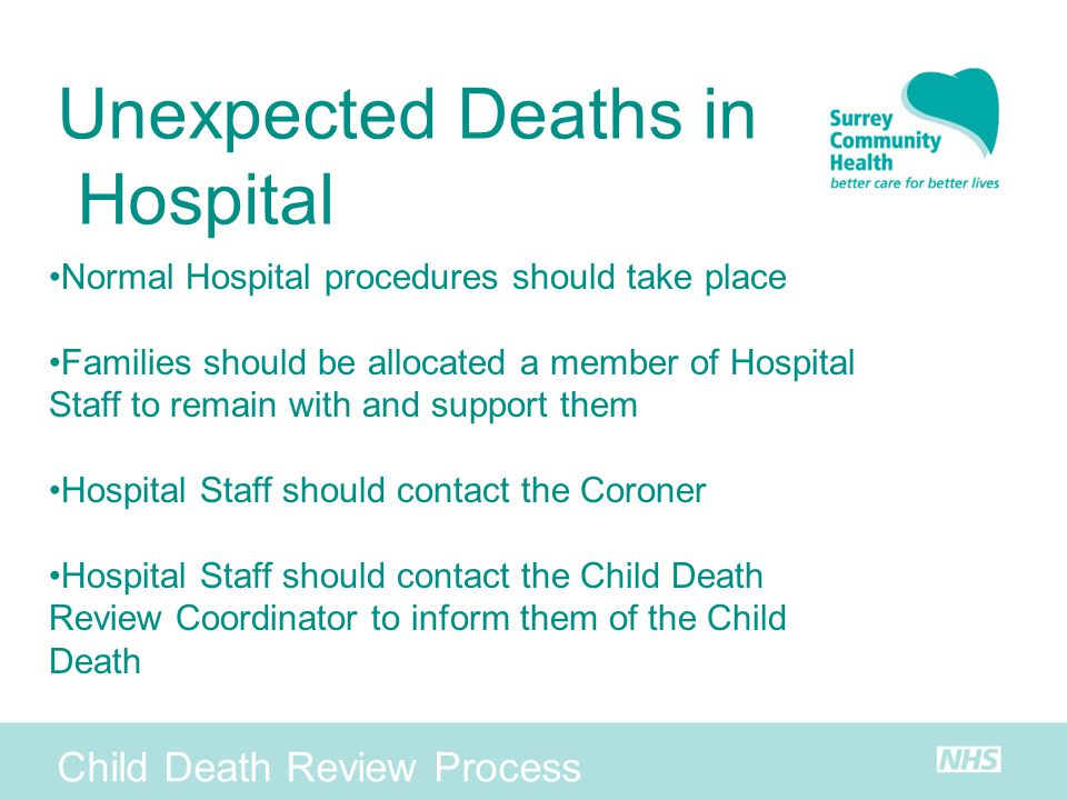 Unexpected Deaths in Hospital Child Death Review Process