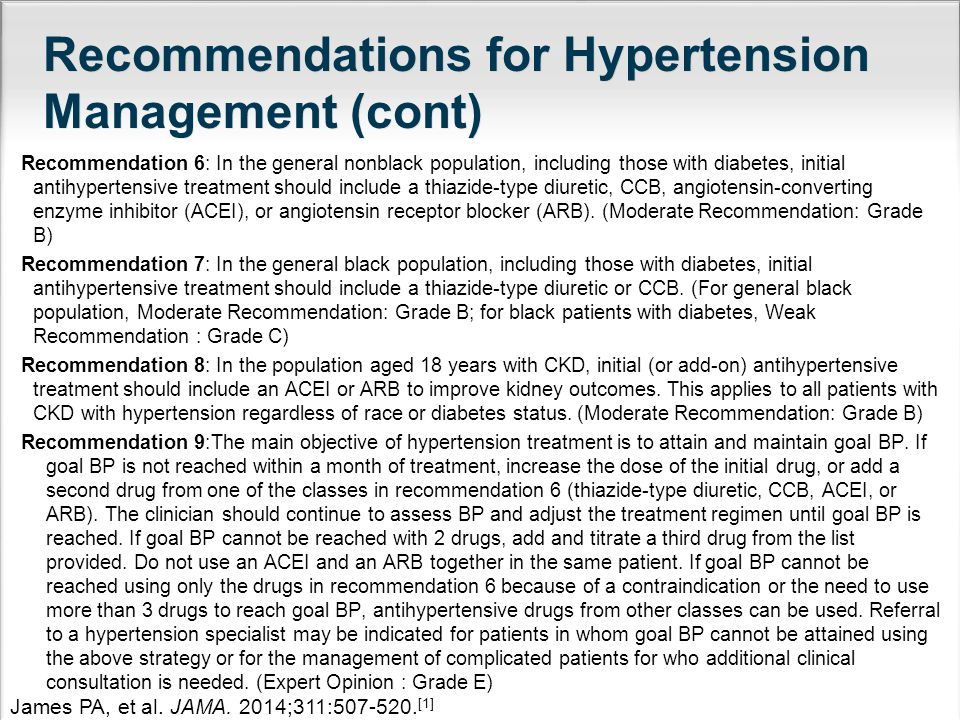 Recommendations for Hypertension Management (cont)