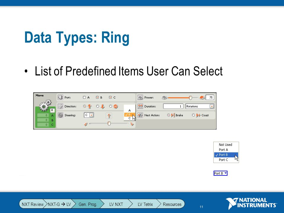 Data Types: Ring List of Predefined Items User Can Select NXT-G  LV