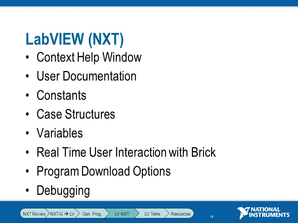 LabVIEW (NXT) Context Help Window User Documentation Constants