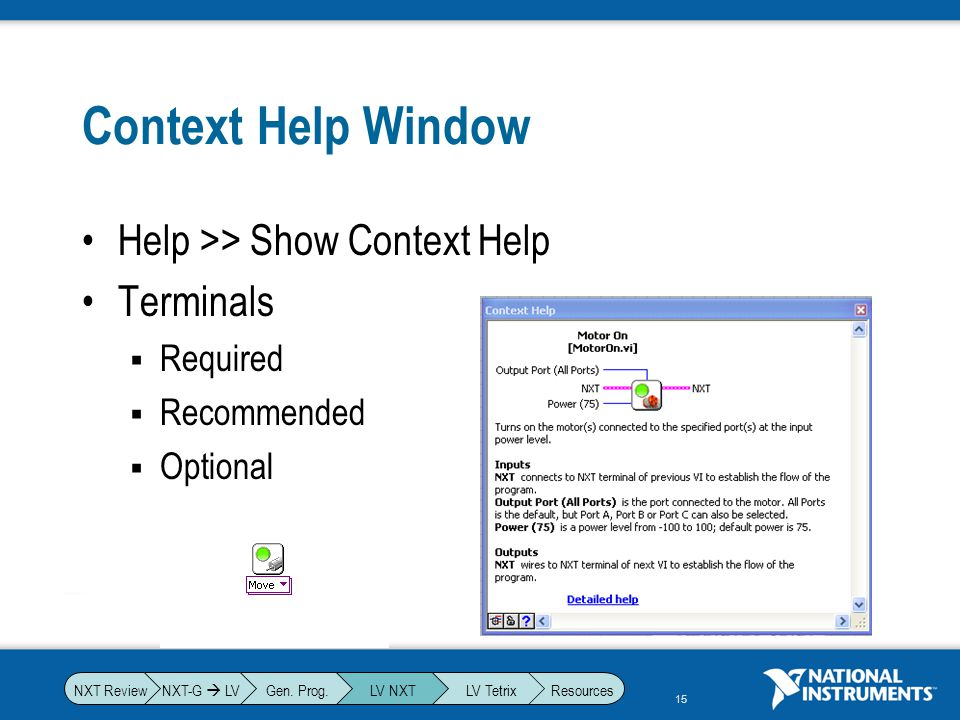 Context Help Window Help >> Show Context Help Terminals Required