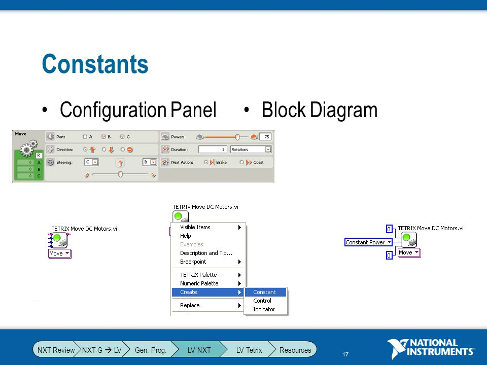 Constants Configuration Panel Block Diagram NXT-G  LV Gen. Prog.