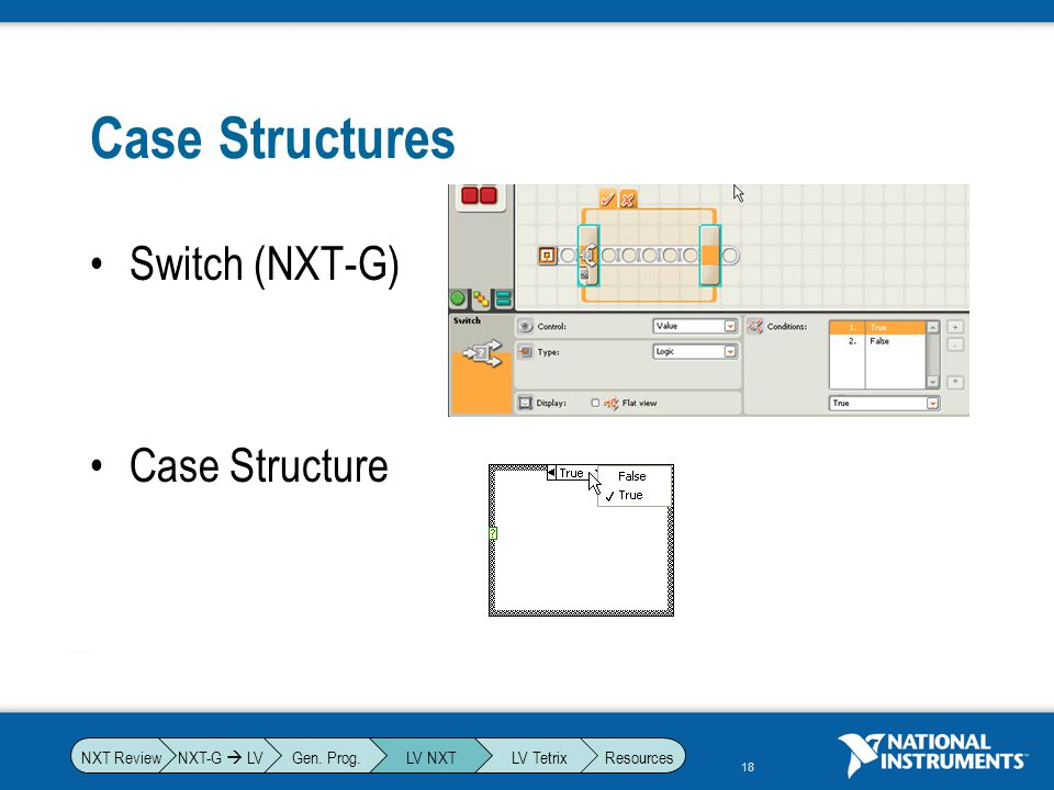 Case Structures Switch (NXT-G) Case Structure NXT-G  LV Gen. Prog.