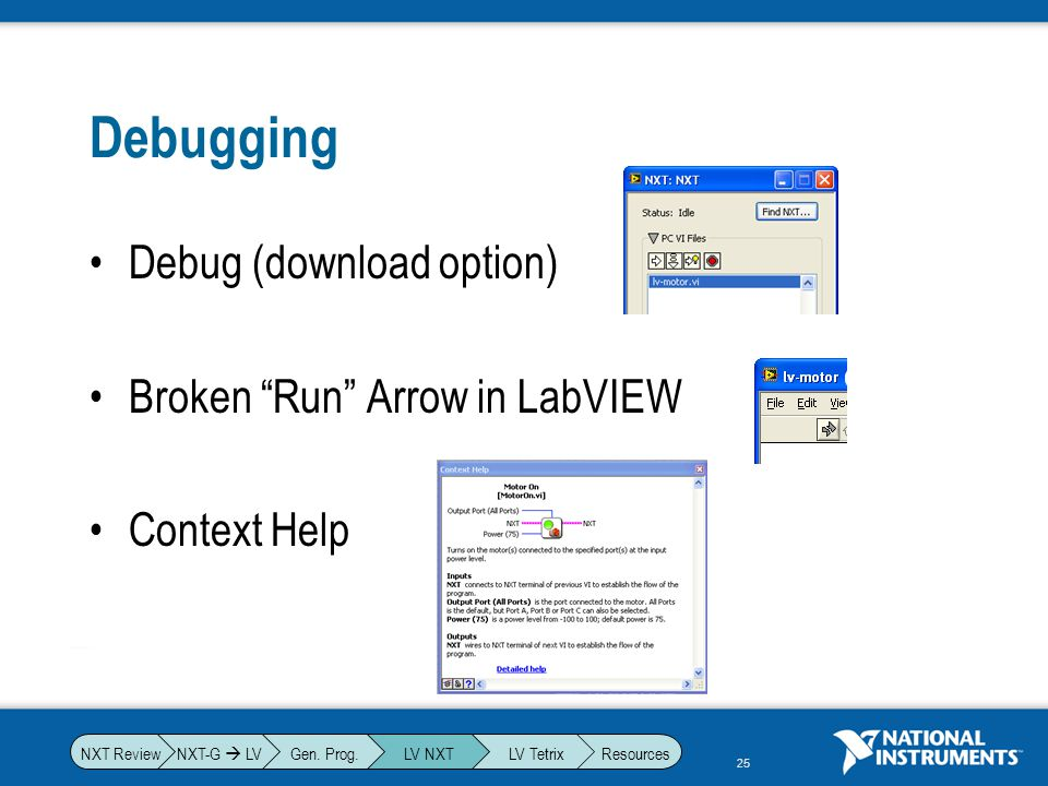 Debugging Debug (download option) Broken Run Arrow in LabVIEW
