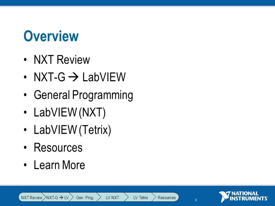 Overview NXT Review NXT-G  LabVIEW General Programming LabVIEW (NXT)